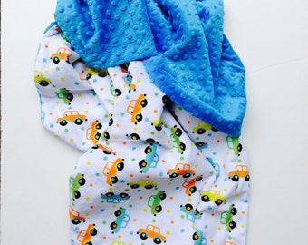 Car Minky Baby Blanket, Minky Boy Blanket, Minky Girl Blanket, Baby Shower Gift, Car Seat or Stroller Sized 29 x 36