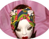 Wide  60s Pattern Stretch Turban Headband