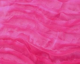 """Solid Wavy Organza Fabric - FUCHSIA - 58"""" Width Sold By The Yard"""