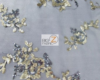 "Sunset Floral Sequins Scalloped Edges Lace Fabric - BLACK/GOLD - 50/52"" Width Sold By The Yard Evening Dress Gown Fashion"