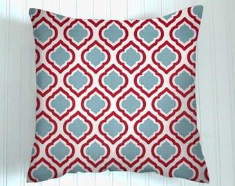 Red Pillow Cover.Decorator Pillow Cover.Home Decor. Blue Floral .Cushions. Cushion.Pillow.