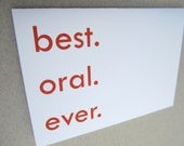 """Funny Card, Sexual Greeting Card, Just Because Card - """"Best Mouth Ever"""""""