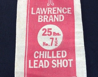 """Lawrence Brand No. 7 1/2 Chilled Lead Shot Canvas Ammo Bag Taracorp Made In USA Group """"A"""""""