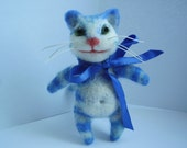 Needle felted cat, blue cat