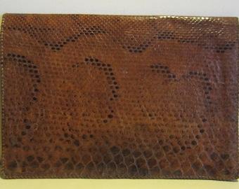 Vintage python snake skin leather docubag, portfolio map, near mint!