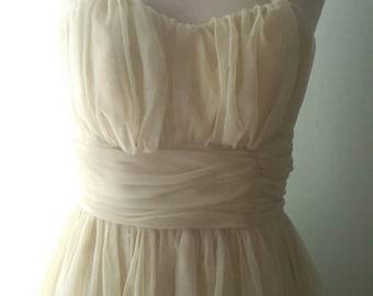1950s Yellow Chiffon Prom Dress