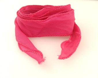 Faux silk ribbon for wrap bracelet 1.5in x 45in hand sewn yoga bracelet style color 03 Fucsia (8125)
