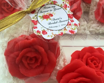 10 ROSE SOAPS  Bridal Shower, Wedding Favor, Mothers day,Shabby chic