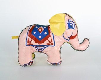 Vintage Softskin Pink Vinyl Elephant | Mid Century Vintage Toys | Elephant Toy | Pink Elephant