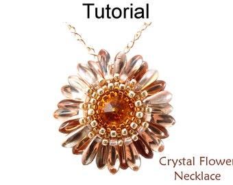 Beading Tutorial Pattern Flower Pendant Necklace - Circular Peyote - Simple Bead Patterns - Crystal Flower Necklace #466