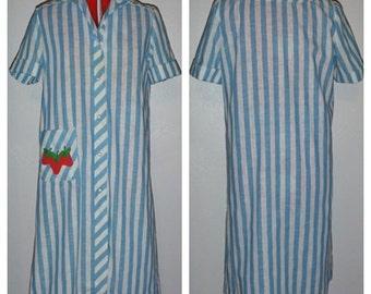 Vintage Saks Fifth Avenue Gourmette striped house dress