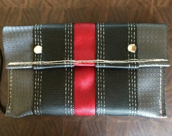 Snap Pouch-Black/Grey/Red w white thread