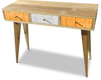 Flash Sale! Modern Mid Century Retro Danish Scandinavian Vintage Shabby Chic Eco Recycled Orange & White Console / Desk / Dressing Table