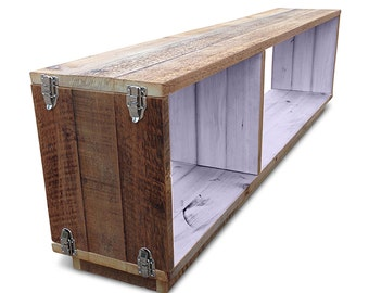 "Flash Sale! Eco Recycled Timber Stackable Modular Shelf ""Traveller"" Bookcase / Wooden Entertainment Unit with Silver Buckles - Pastel Lilac"