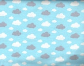 FREE SHIPPING - Dreamy Clouds Flannel Fabric - blue sky white gray clouds - David Textiles Dreamland Flannel Basics - by the YARD