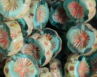 14mm Carved Flower - Capri Blue Czech Glass Flower Bead - 1679 - Capri Blue Picasso Flower Bead - 10 beads