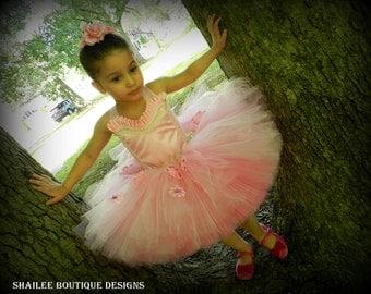 Girl's tutu dress Ballerina costume 2pc ,pink tutu dress,ballet birthday party tutu dress,ballet dressup,ballerina bithday MADE TO ORDER