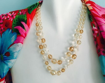 BRIDAL glass beads double stranded necklace statement formal wedding