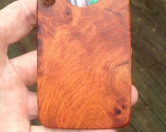 Custom Made Amboyna Burl & figured Maple business card holder