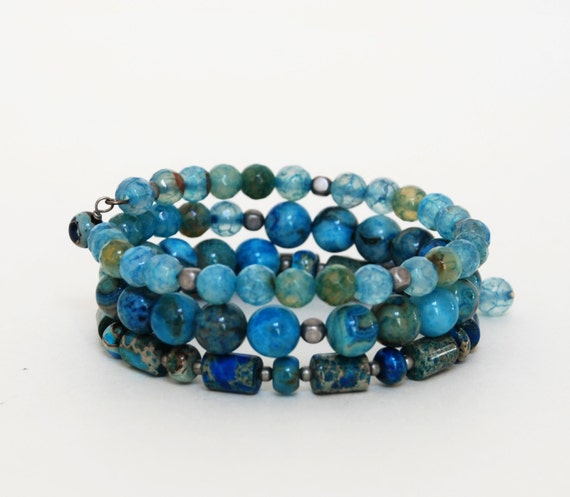 blue gemstone memory wire bracelet with blue by