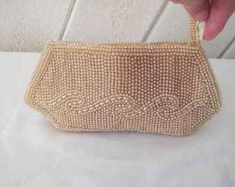 Champagne beaded pearl clutch, evening formal clutch, vintage 50s 60s clutch, brides clutch, Miranda clutch, 1126