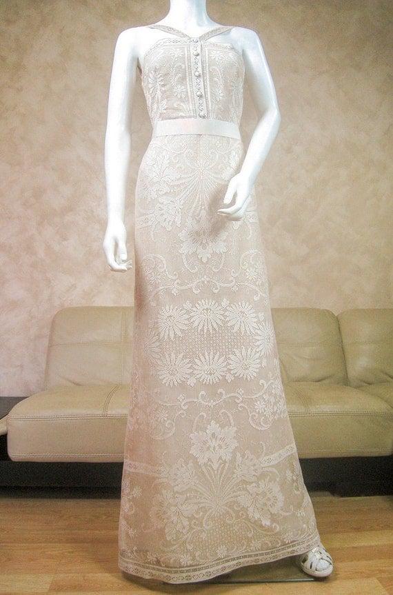 Boho Wedding Dress Nottingham : Cream lace wedding dress with a train bridal made from