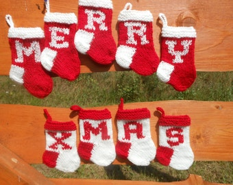 MERRY XMAS Mini Christmas Stockings Hand Knitted Set of 9 Christmas Gift Christmas Decoration Stocking Ornament