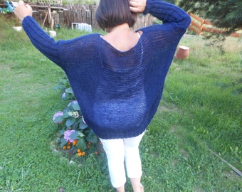 Oversized Plus Size Hand Knit Sweater Tunic Loose Knit Women's Sweater Navy Blue