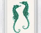 sea horses couple Sealife seafoam -Sealife  Wall decor poster- bathroom wall decoration- A4 art print SPA055
