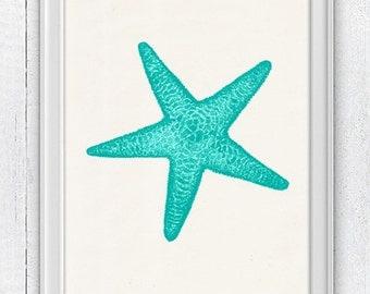 Starfish in green aqua color - Decorative art Giclee Print wall decor ,  wall art seaside print- sea life print -Marine sea life art SPA081