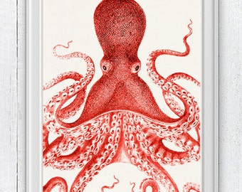Big Red octopus, Nautical Print Beach Decor bathroom Decor Nautical Decor Wall Art Beach House Decor Octopus Picture SPOJ043