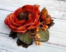 Burnt orange headpiece, Fall wedding hair accessories, Rustic hair flower, Ranunculus hair piece, Olive green, Autumn wedding