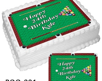 On Sale- Personalized Edible Icing Frosting Sheet Image Birthday Fathers Day Sticker Decal Decoration Cake Topper Pool Table Billiards (E008