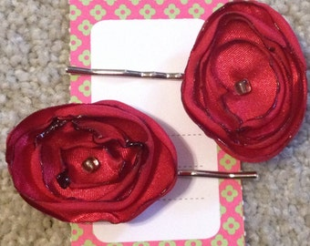Fabric Flower Bobby Pins