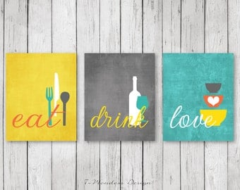 Kitchen Wall Art Print Set - Eat Drink Love -  Coral, Turquoise, Mustard, White // Modern Kitchen Decor // Set of (3) Many Sizes // Unframed