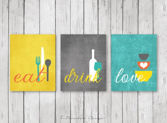 Kitchen wall art print set eat drink love coral for Wine and dine wall art