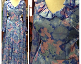 60s Floral Handmade Formal Party Dress