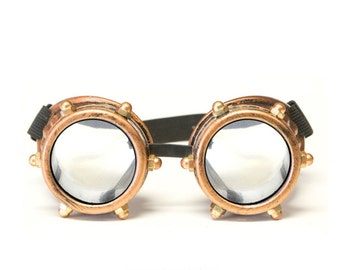 GloFX Copper Bolt Steampunk Goggles Rave Welding Cyber Punk Goth Dieselpunk Glasses