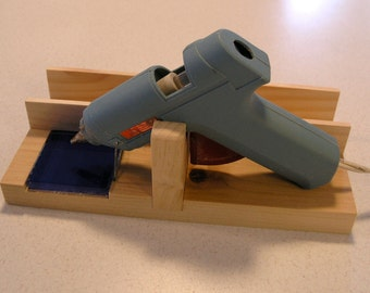 Standard Glue Gun Holder and Stand, with Glass Tile and Side Storage Slot