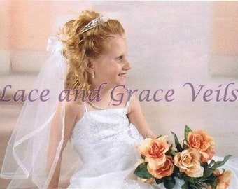 Communion Veil & Delicate Pearl Tiara, Choice of 13 Trims and Bow