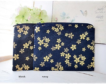 Small zip pouch purse cosmetic pouch makeup pouch travel organizer coin purse japanese gold sakura cherry blossom