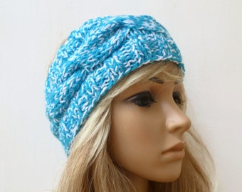Hand Knitted Blue Headband, Women Headband, Cable Knit Ear Warmer, Hand Knitted Ski Headband, Chunky Acrylic Cable Headband, Clickclackknits