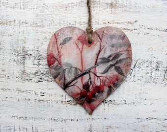 Wooden heart ornament rustic cottage chic shabby chic kitchen decor floral red white black berries