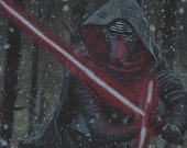 Drawing Print of Colored Pencil Drawing of Kylo Ren from Star Wars: The Force Awakens