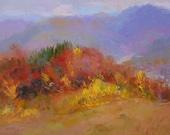 Modern Landscape Painting, Autumn Trees Painting, Original Oil Forest Painting, Blue Mountain Art Painting, Orange Blue Artwork