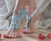 Blue Barefoot Sandals, pearl lace sandals, Nude shoes,  something blue ,Wedding, Victorian Lace, Sexy, Yoga, Anklet , Belly Dance handmade