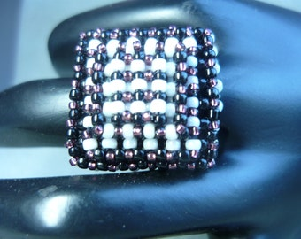 Handmade Beaded Ring made in Layers of Right Angle Weave Stitch
