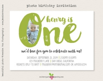 Simple Photo Birthday Party Invitations -1st Birthday- Printable or Printed Cards - COLORS CHANGEABLE