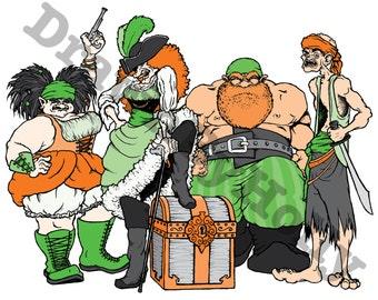 "Merry Band o' Pirates - illustration print 9.5"" x 12.25"""