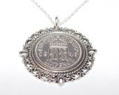 Fancy Pendant 1946 Lucky sixpence 70th Birthday plus a Sterling Silver 18in Chain, 70th, 70th birthday, 70th birthday gift, 1946 gift